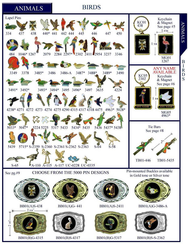 Animals Birds Stock Lapel Pins, Keychain