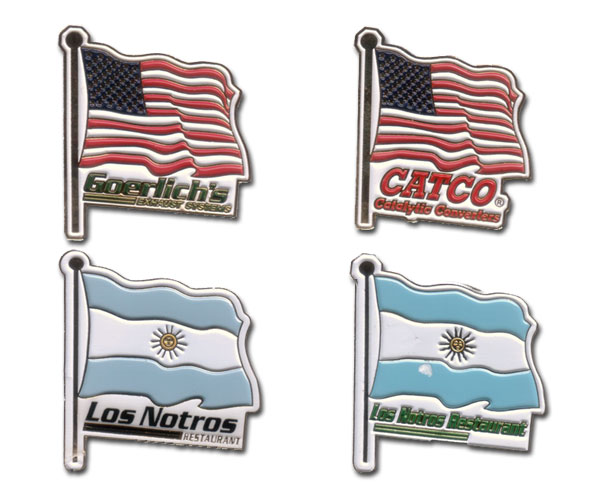 Flags of the World Stock Lapel Pins. Shield & Countries.