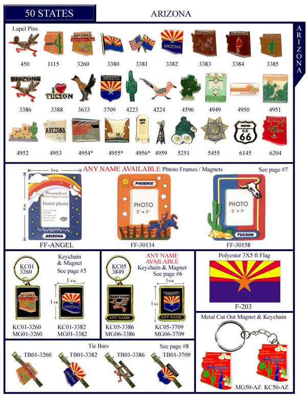 Arizona .US State Stock Lapel Pins